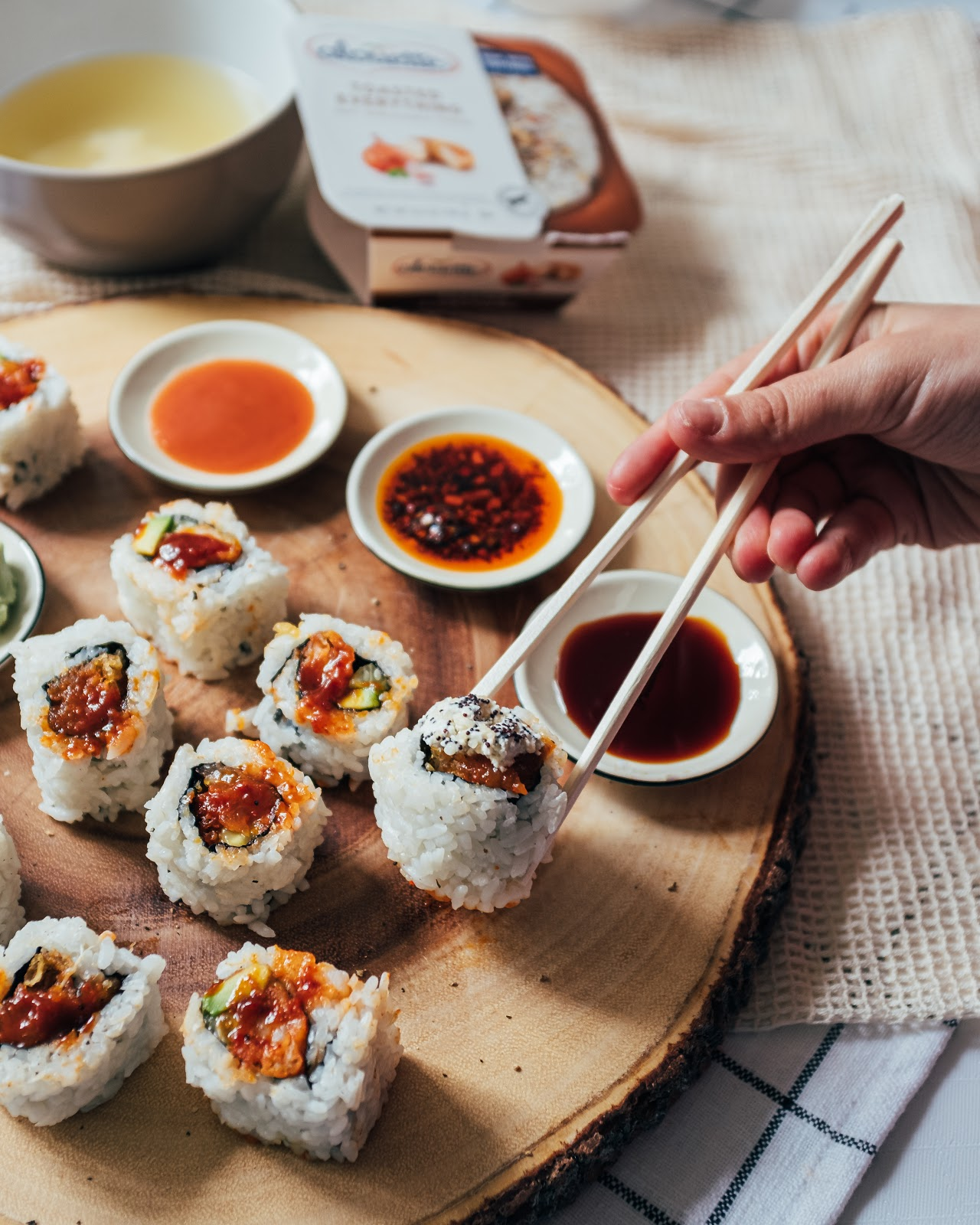 California rolls with Alouette toasted everything and asian sauce