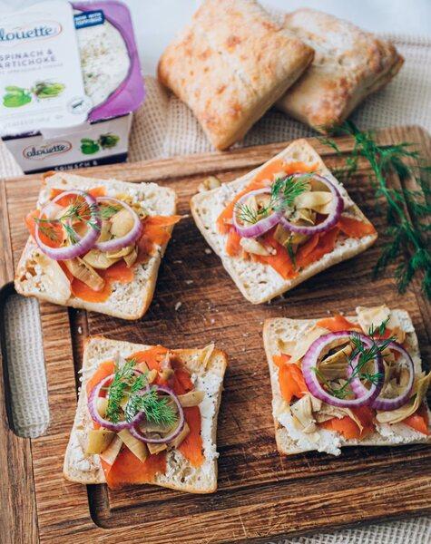 Lox with Alouette Spinach & Artichoke on ciabatta bread