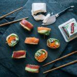veggie, salmon, and tuna rolls with Chavrie pyramid