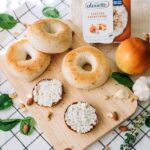 Alouette toasted everything spread on bagels