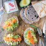 Chavrie pyramid avocado toasts with smoked salmon