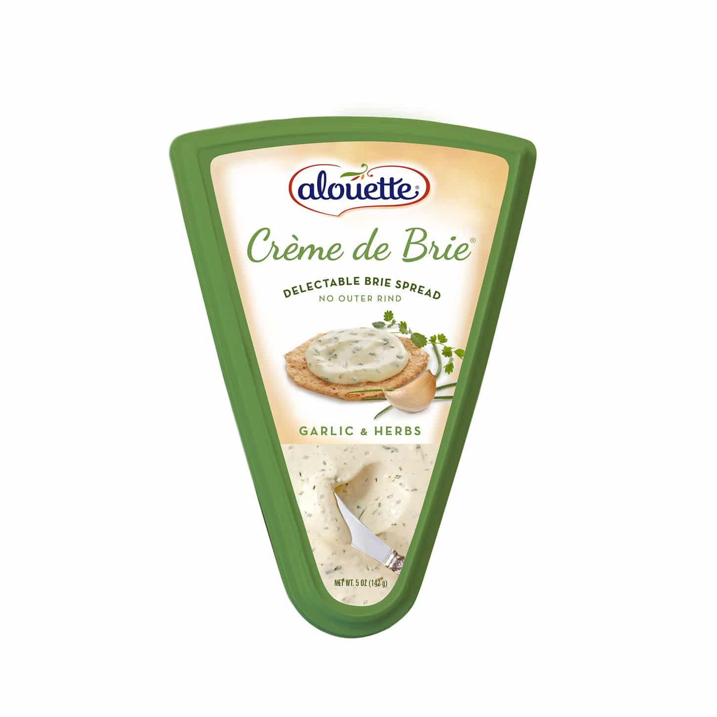 Alouette Crème de Brie Garlic & herbs packaging