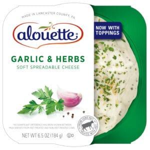 Alouette Garlic & herbs soft spreadable cheese packaging