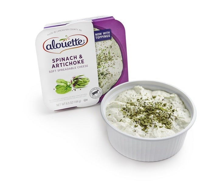 Alouette Spinach & Artichoke spread packaging and pot