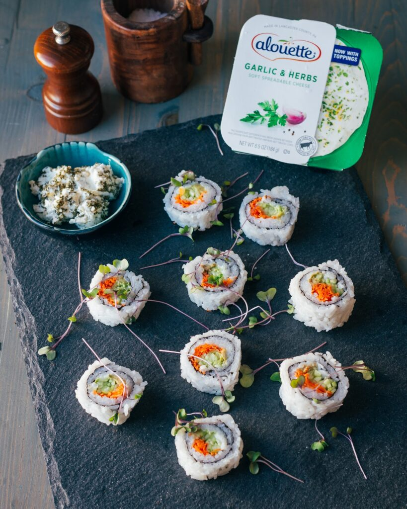 homemade sushi roll with Alouette garlic & herbs