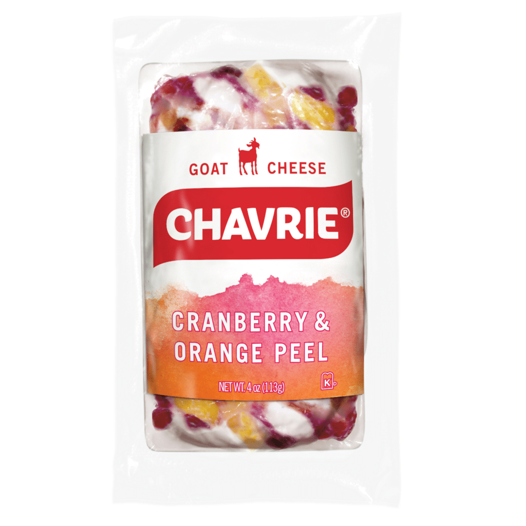 Chavrie cranberry & orange peel goat cheese packaging