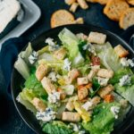 salad with croutons and Saint agur blue cheese