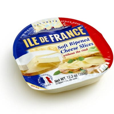 Ile de France soft ripened cheese Slices without the rind packaging