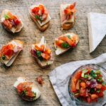 Bruschetta made with toasted Ile de France brie
