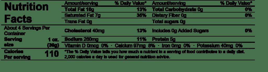 saint agur blue cheese nutrition facts