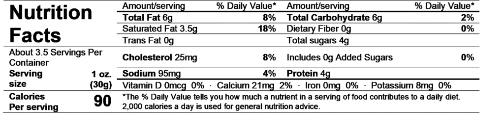 chavrie goat cheese cranberry & orange peel nutrition facts