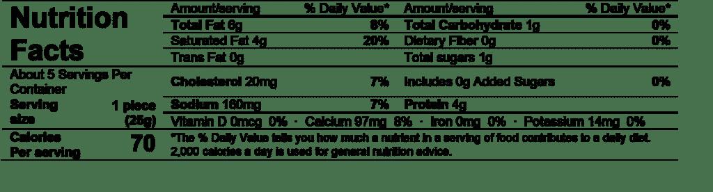 ile de france brie bites nutrition facts