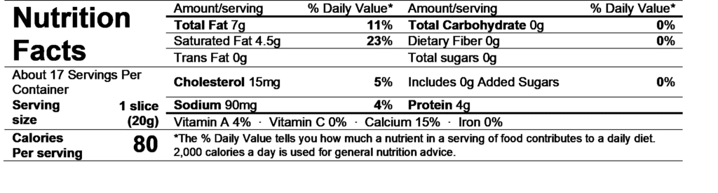 ile de france creamy slices nutrition facts