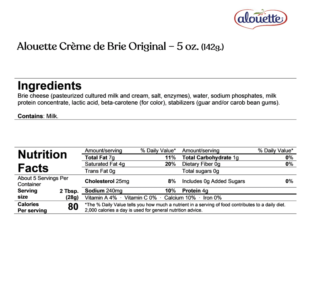 Alouette Crème de Brie Original ingredients & nutrition facts
