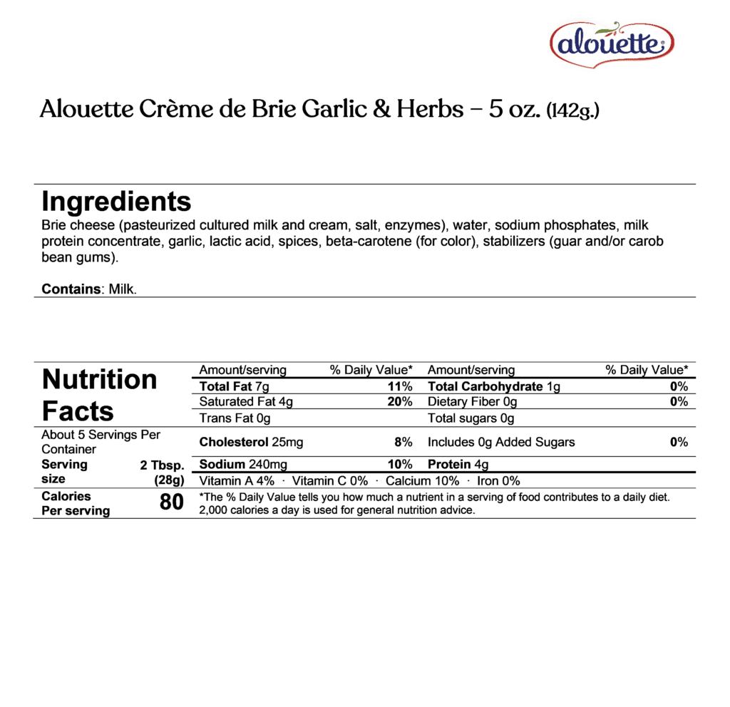 Alouette Crème de brie garlic & herbs ingredients & nutrition facts