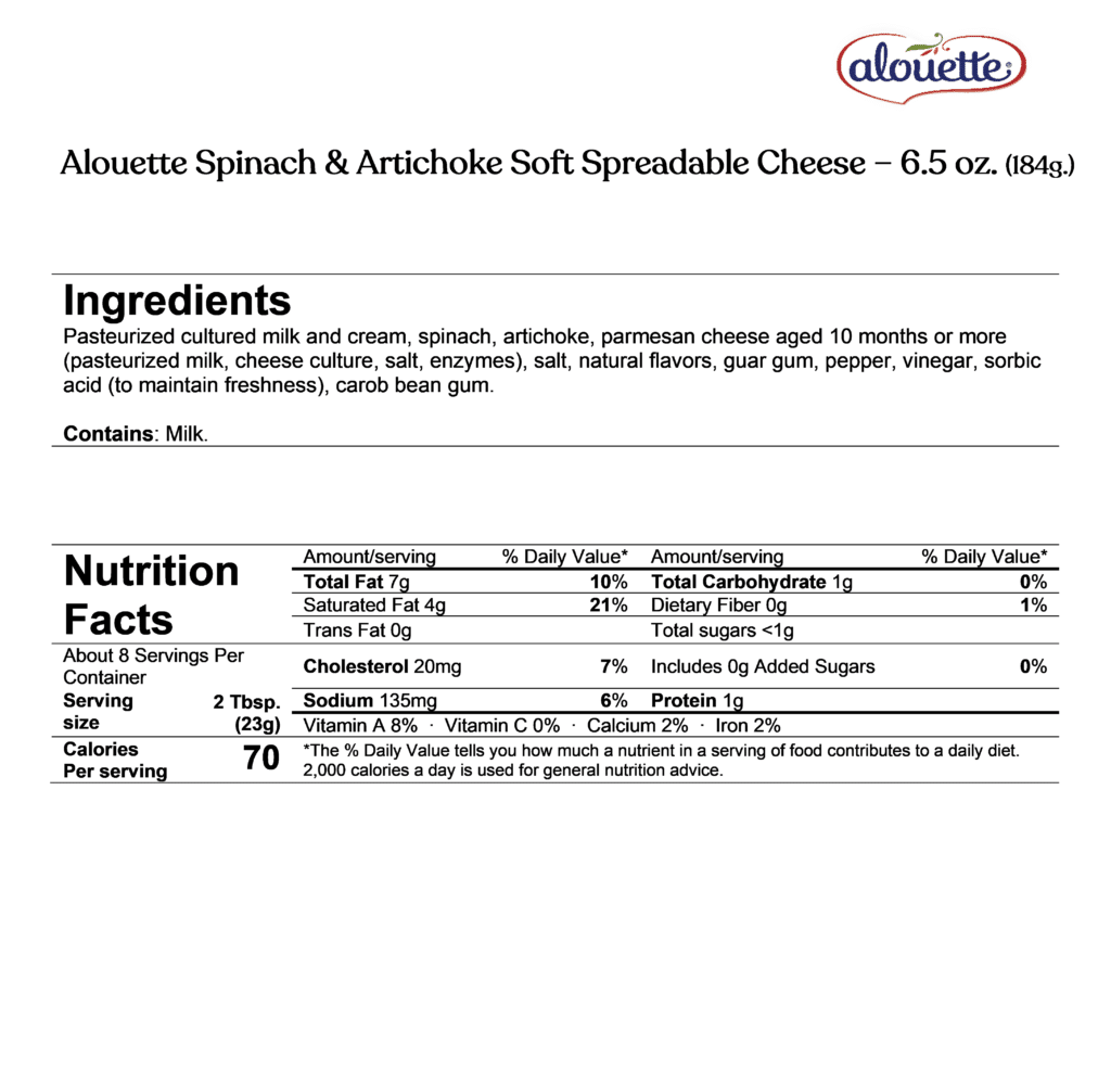 Alouette spinach & artichoke soft spreadable cheese ingredients and nutrition facts