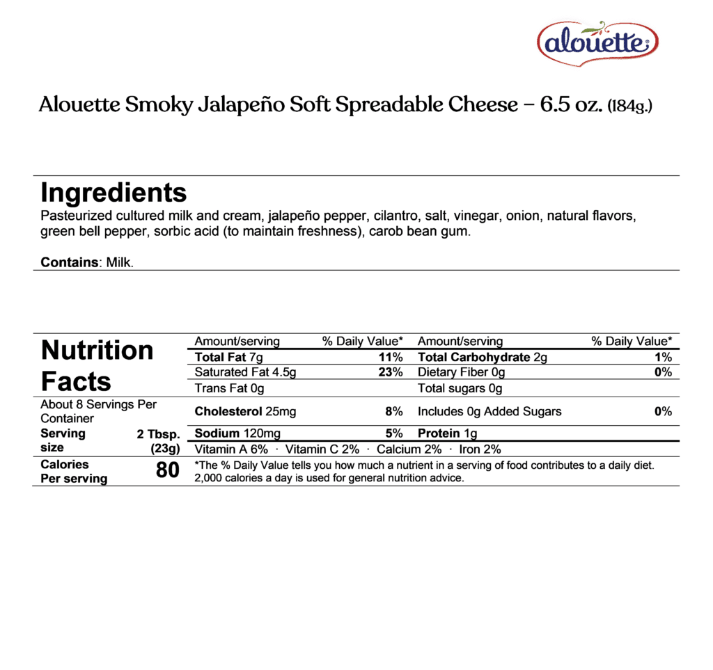 Alouette Smoky Jalapeno ingredients & nutrition facts