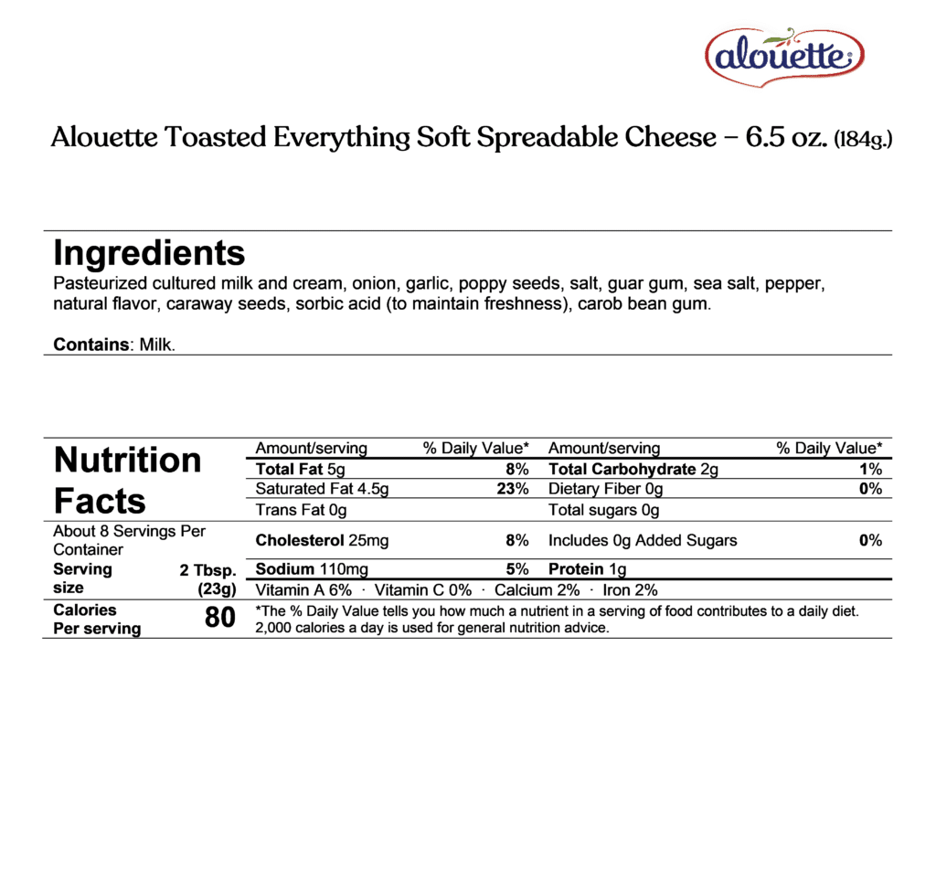 Alouette toasted everything spread ingredients & nutrition facts