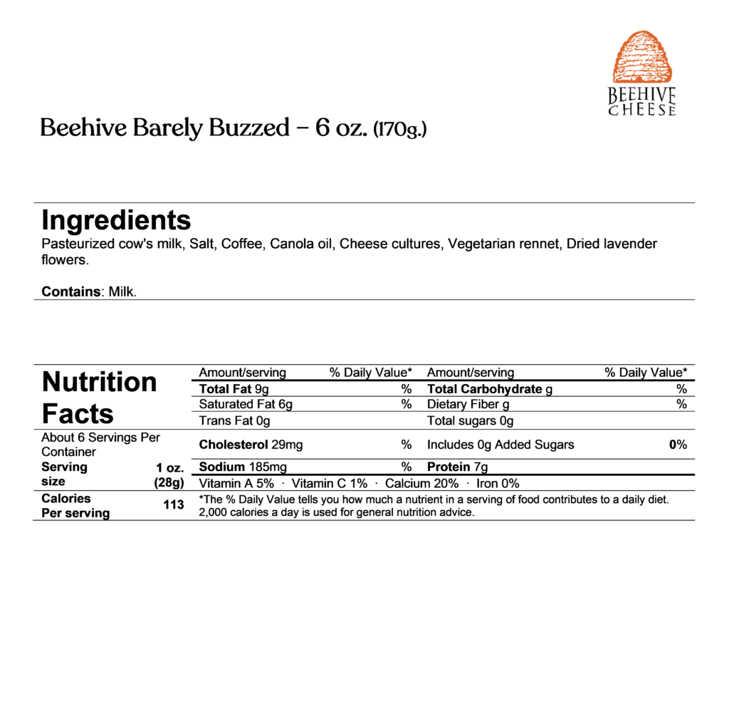 beehive barely buzzed ingredients & nutrition facts