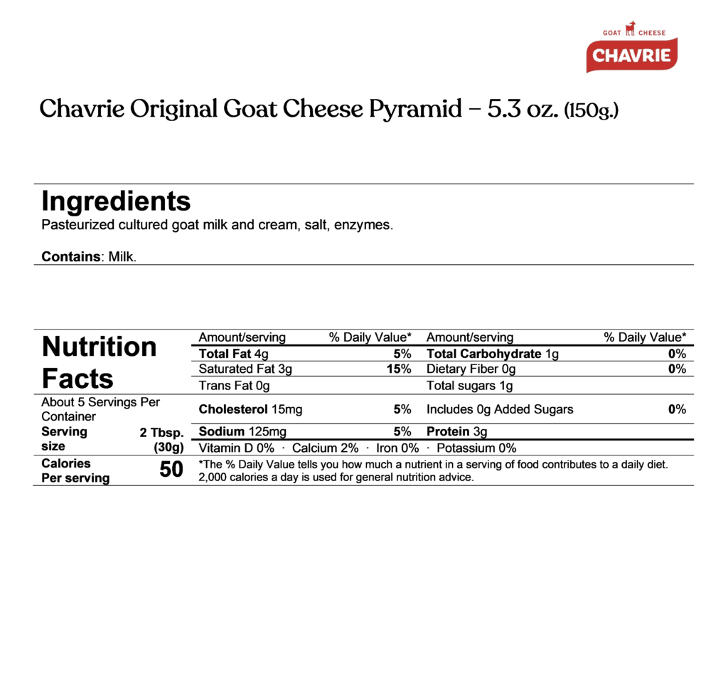 Chavrie goat cheese pyramid ingredients & nutrition facts