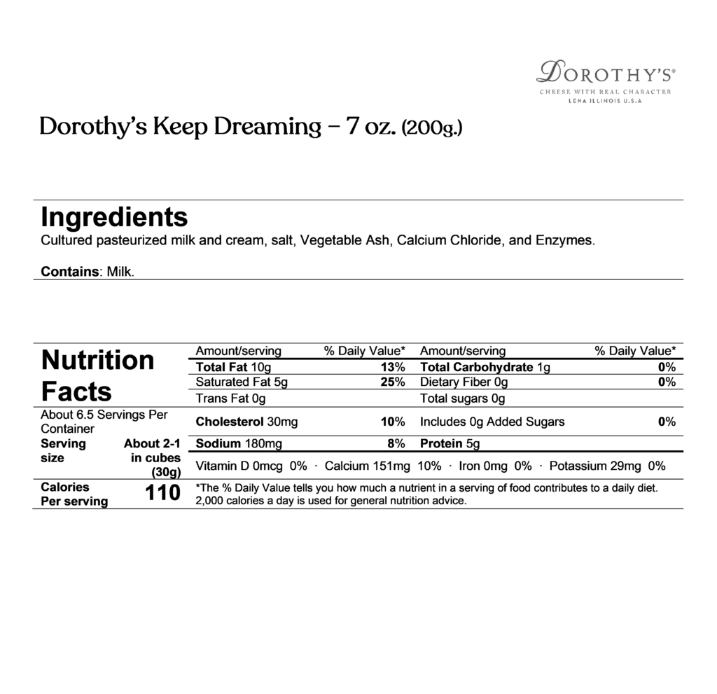 Dorothy's keep dreaming ingredients & nutrition facts