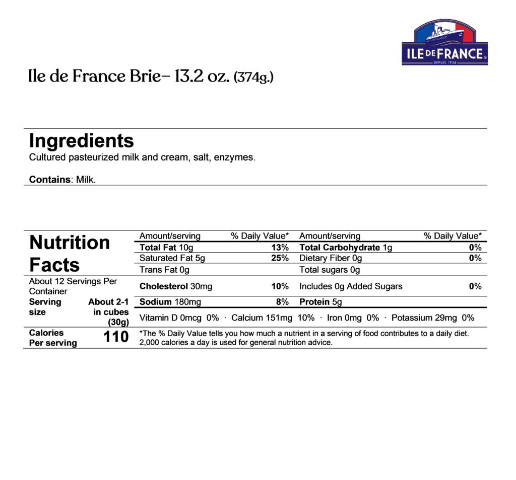 Ile de France brie 13.2oz ingredients & nutrition facts