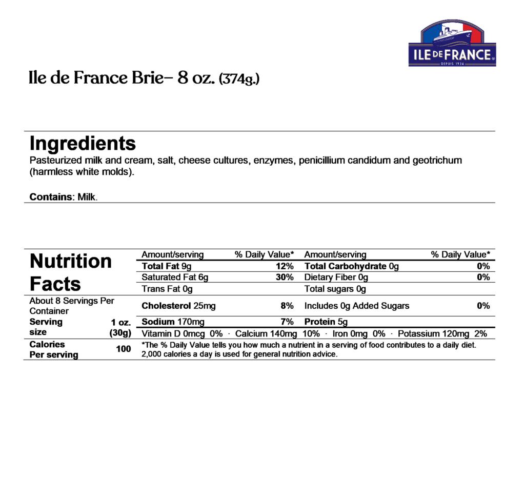 ile de france brie 8oz ingredients & nutrition facts