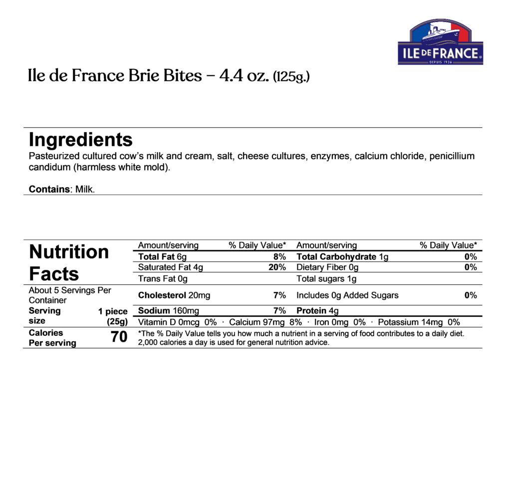 ile de france brie bites ingredients & nutrition facts