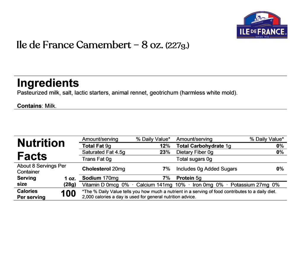 ile de france camembert ingredients & nutrition facts