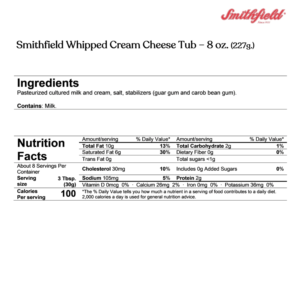 smithfield whipped cream cheese ingredients & nutrition facts