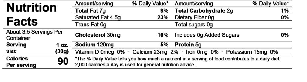 chavrie goat cheese sundried tomato & garlic nutrition facts