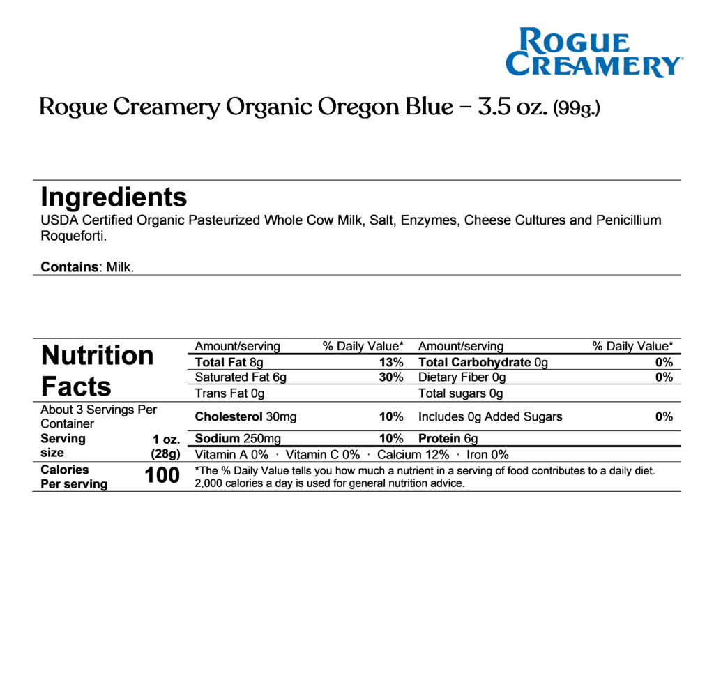 rogue creamery organic oregon blue ingredients & nutrition facts
