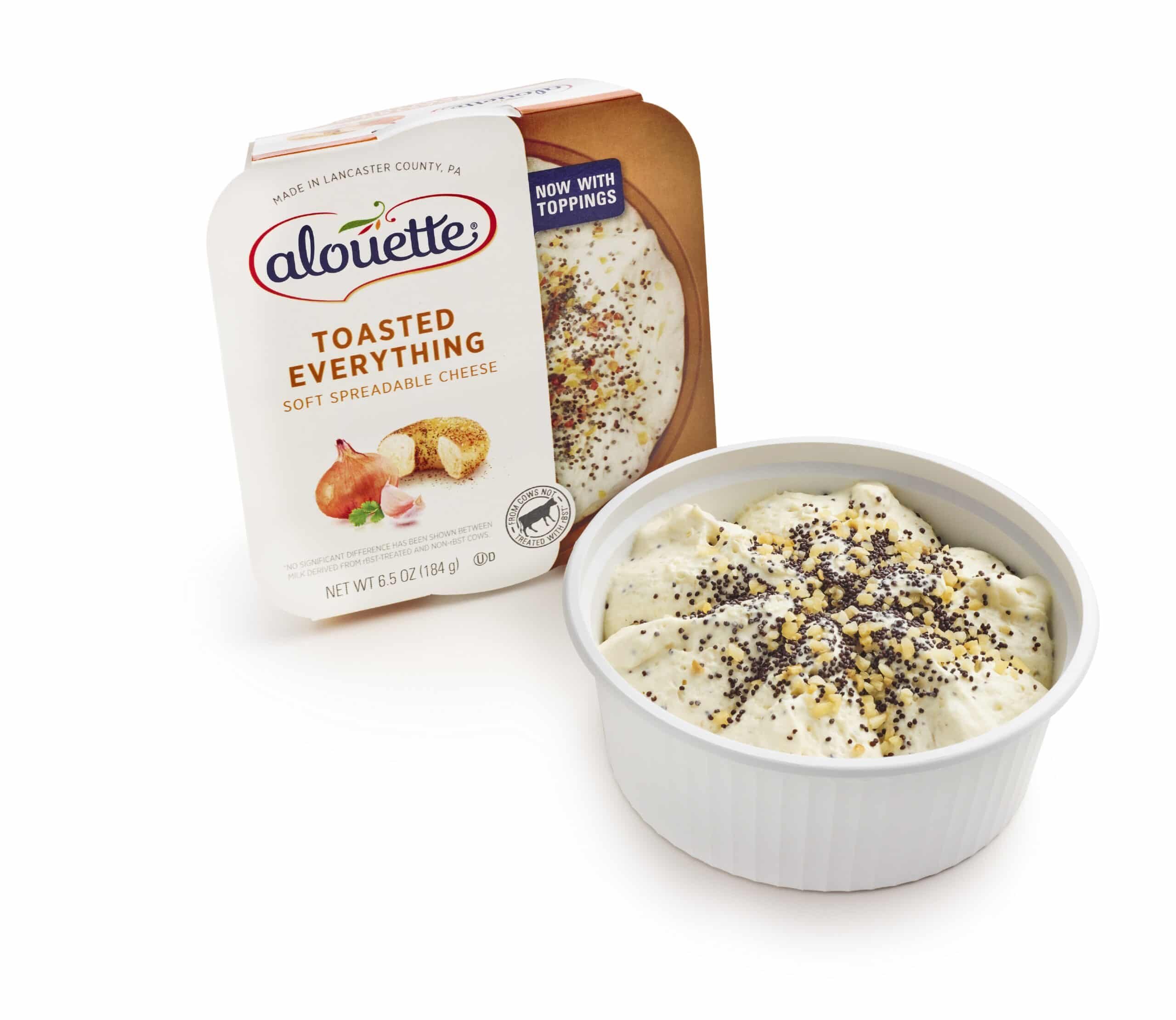Alouette Toasted everything spread packaging and pot