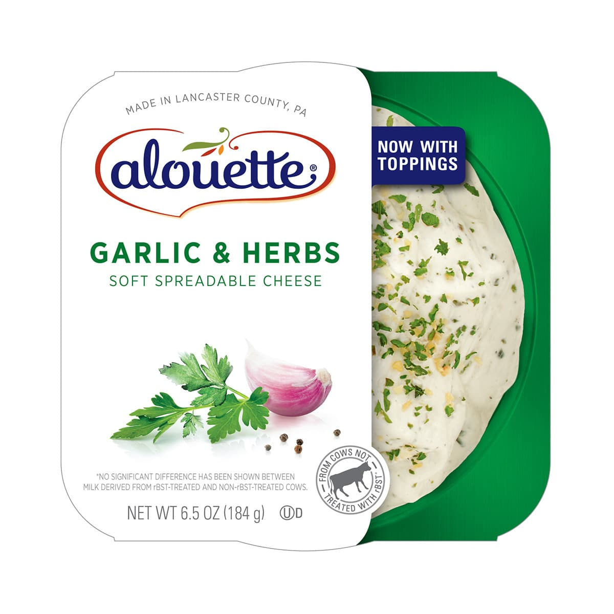 Alouette Garlic & herbs soft spreadable cheese packaging