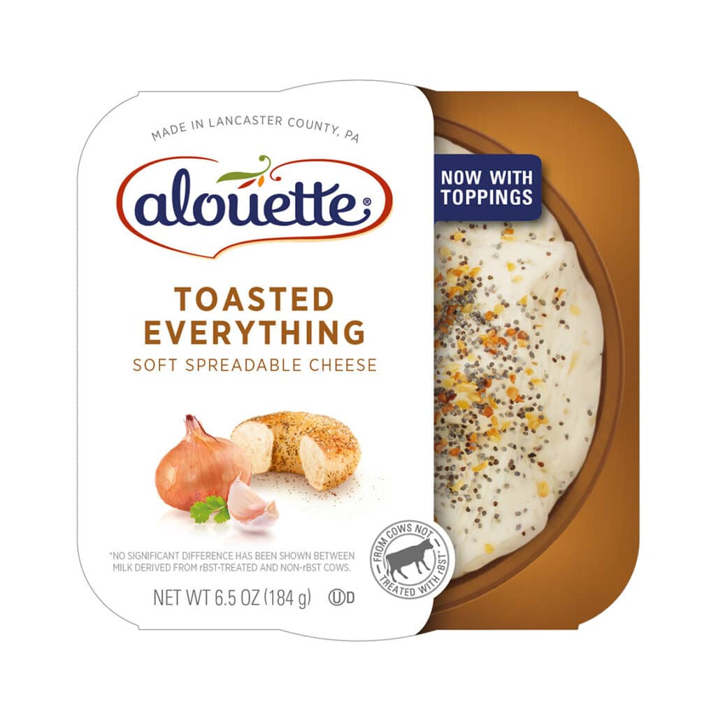 Alouette Toasted Everything soft spreadable cheese packaging