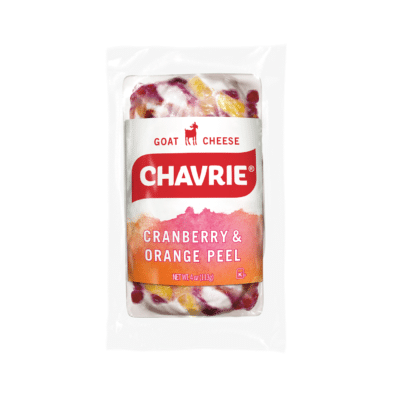 chavrie goat cheese cranberry and orange peel log packaging