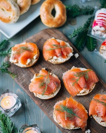 chavrie cranberry & orange peel and smoked salmon toasts