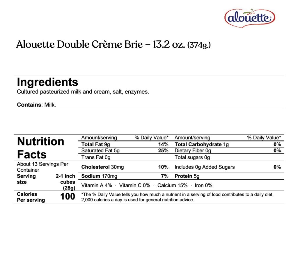 alouette double crème brie ingredients & nutrition facts