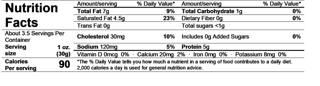 chavrie original goat cheese log nutrition facts