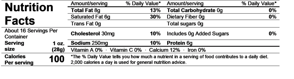 rogue tolman blue cheese nutrition facts