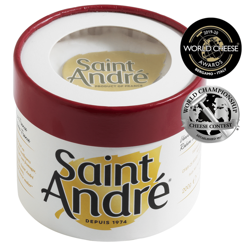saint andré heavenly triple crème packaging and medals