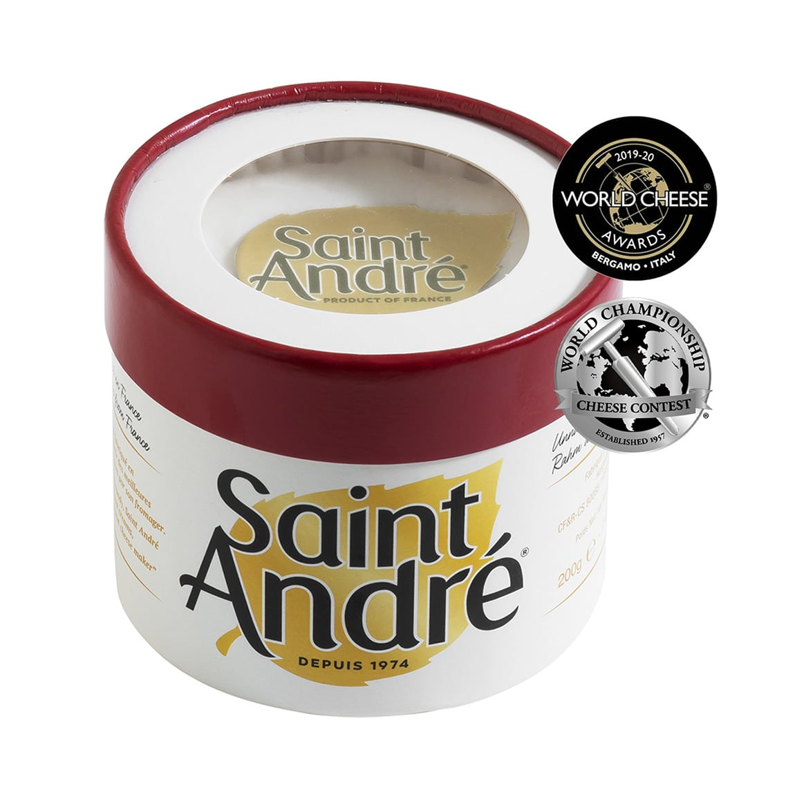 Saint André heavenly Triple Crème cheese packaging and medals