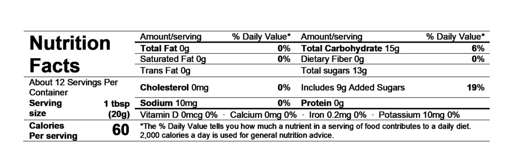nutrition facts divina sour cherry spread