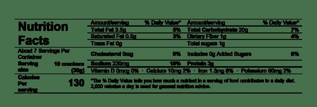 nutrition facts divina crostini