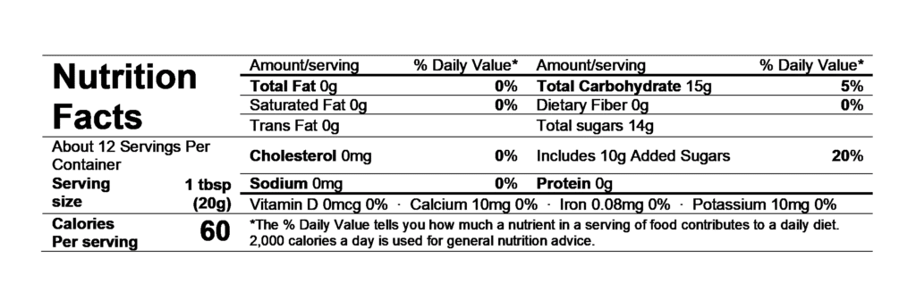 nutrition facts divina fig spread
