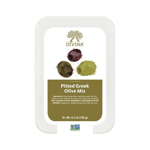 divina pitted greek olive mix packaging