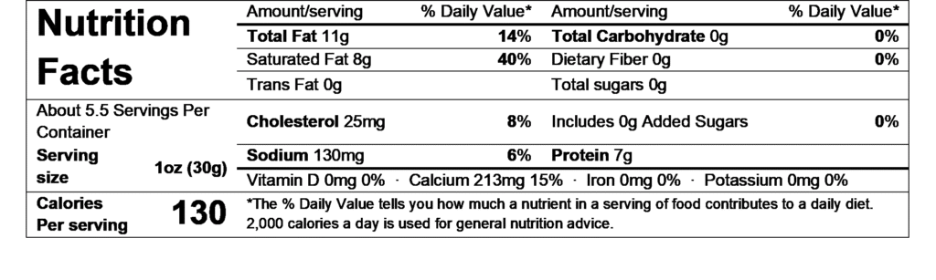 nutrition facts esquirrou ossau iraty