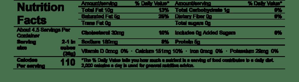 nutrition facts alouette petite brie peppercorn