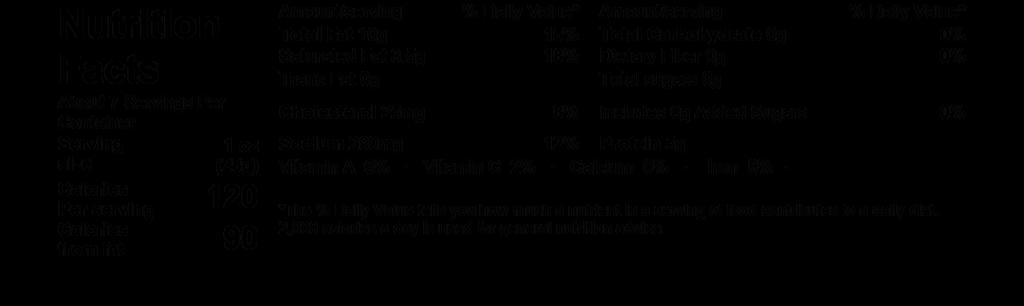 nutrition facts dartagnan saucisson sec pork