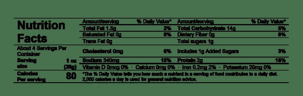 nutrition fact rustic bakery flatbread